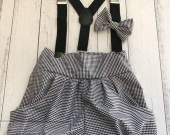 Boy Birthday Outfit - Suspenders, pants and bowtie in black gingham fabric - Great for first birthdays, photo shoots and cake smash