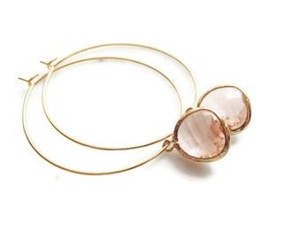 Gold hoop earrings Peach earrings Modern hoop earrings Minimalist hoop earrings Champagne earrings Hoops Bridesmaid earrings Gift for Her
