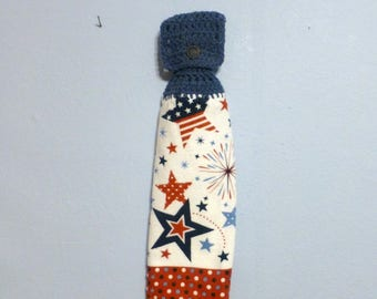 Hanging Kitchen Towel Red White Blue Stars