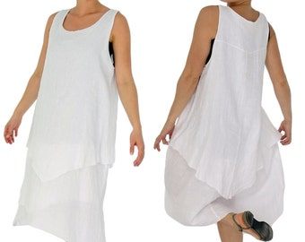 HH800W48 dress layered Look tunic linen plus size gr. 46 48 50 Portable White