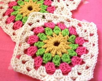 Crochet Pattern - Field of Flowers Afghan Block Crochet Pattern - Crochet Square Pattern PDF
