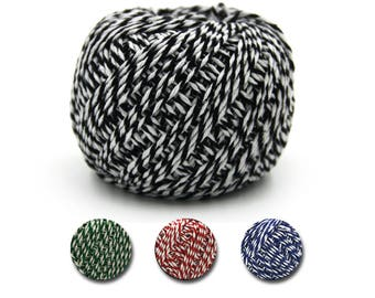100M Cotton Twine Rope, Black White Twine