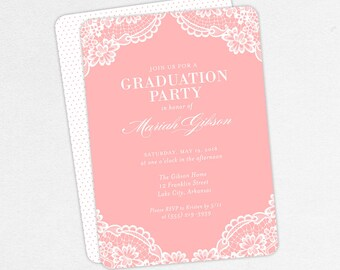 Graduation Invitation, Graduation Announcement, Printable Invite, Invitation PDF, DIY Graduation, Printed, Girl, Lace, Rustic, Pink, Mariah
