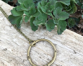 Circle of Life Antique Brass Necklace