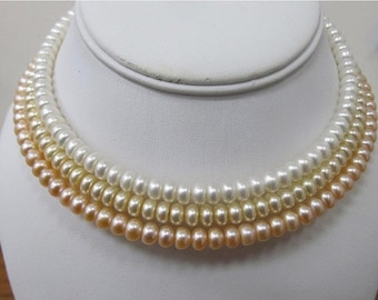 On Sale HONORA Golden, White and Pink Fresh Water Pearl Collar Necklaces Item K # 3261