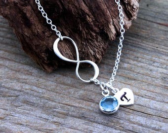 Sterling Silver Infinity Necklace. Personalized Birthstone, custom Initial Charms. Friendship, Sisters Necklace