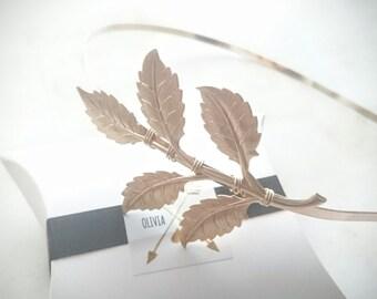 Gold Leaf Headband Grecian Leaf Headband Large Greek Leaf Headband Greek Goddess Grecian Hair Accessories Laurel Headpiece Wedding Headband