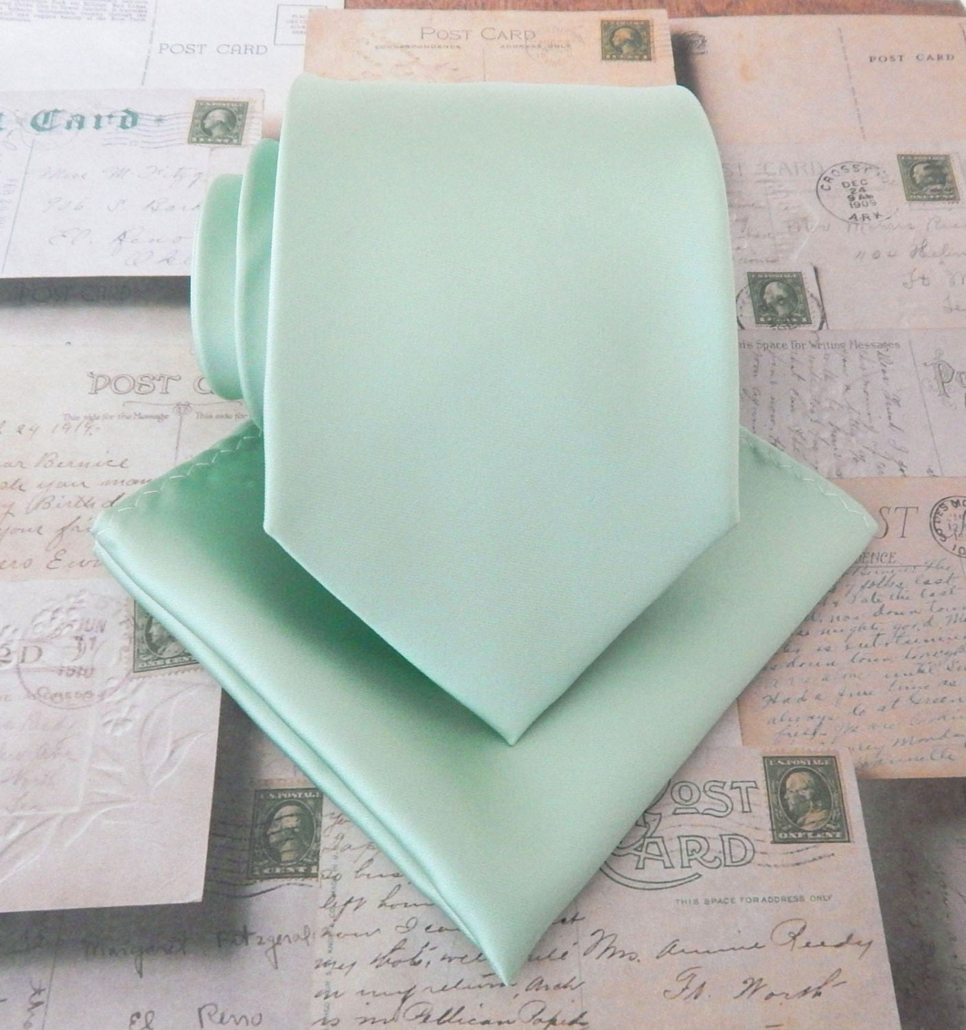 Dusty Mint Mens Tie with *FREE* Matching Pocket Square. JCrew Inspired Dusty Shale Green Mens Necktie and Matching Pocket Square Set