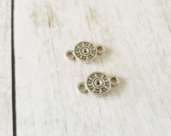 Circle Connector Charms Antiqued Silver Circle Pendants Links Connector Pendants 2 Hole Charms Circle Charms 10 pieces