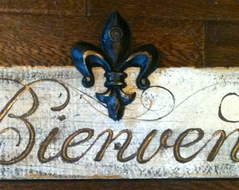 French Rustic Welcome Sign