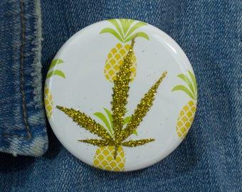 Gold Glitter Pressed Cannabis Leaf Button