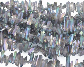 "GRAY RAINBOW AB Crystal Quartz Stick Beads Tusk Point Beads, top drilled gemstones 1/2"" to 7/8"" long, full strand gqz0116"