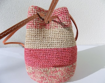 Shoulder bag, bucket bag, straw, raffia crochet bag, handmade handles, leather, pink and white bag, bag for women girl bag hand/straw bag