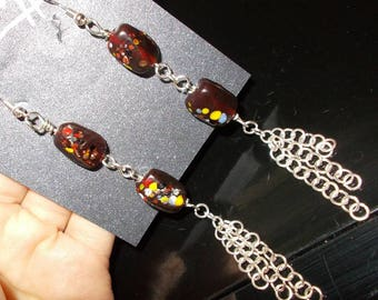 spotted glass dangle earrings