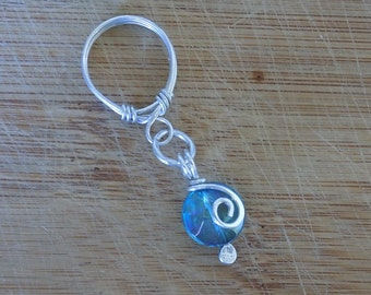 Aqua Aura Quartz Ring Faceted Dangle Bead Ring Wrapped in Sterling Silver Almost a Size 6 Free USA Shipping Handmade Wire Wrapped Jewelry