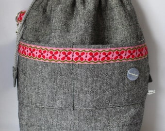Large Quilted Drawstring Project Bag and for Knitting/Crochet/Craft