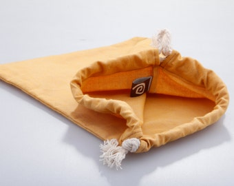 Cotton Draw String Pouch, mustard.