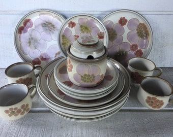 Retro floral stoneware dishes Gypsy Denby-Langley dinner salad dessert plates cups sugar bowl w/ lid, stoneware dishes pastel floral plates