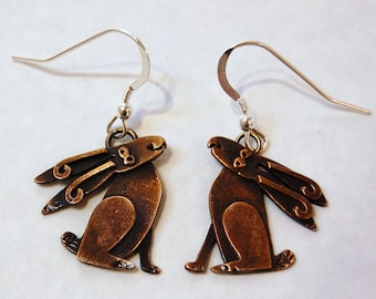 Moongazing Hare Copper Finish Drop Earrings
