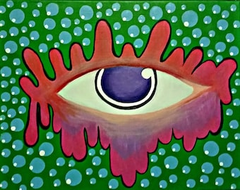 Trippy Colorful Eye Acrylic Painting on Canvas, Original Painting on Canvas