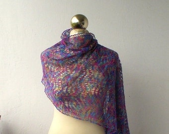 Hand knitted luxurious silk lace shawl
