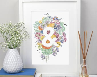 Floral Ampersand Print, Wedding Gift, Surname Art, Ampersand Wall Art, Floral Wall Decor, Flower Art
