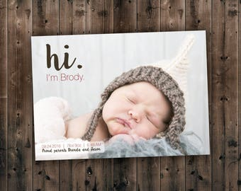 Newborn Announcements, Baby Announcement Card ,Baby Girl Announcement, Baby Boy Announcement, Birth Announcement, Newborn Card, Newborn