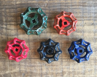 Industrial Magnets Set (5) Vintage Repurposed Valve Gate Spigot Faucet Handles Multi-Colored Rustic Industrial Refrigerator Magnets Set of 5