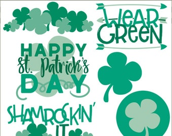 St Patrick's Day Clipart Set -Personal and Commercial Use- Shamrocks and Titles Clip Art