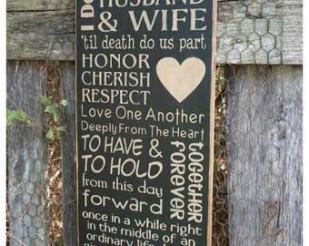 Husband & Wife, Word Art, Primitive Wood Wall Sign, Typography, Subway Art, Handmade