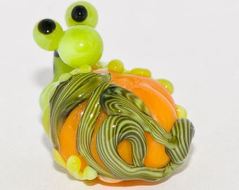 First test listing. Frog on pumpkin glass bead