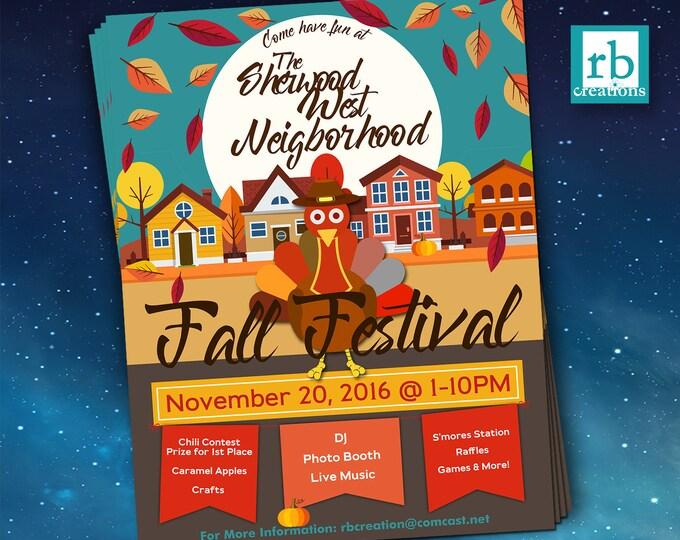 Block Party Flyer, Fall Festival Fall Flyer, Autumn flyer, Thanksgiving flyer, 8.5x11 Flyer Design, Flyer Design - Digital Printables