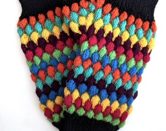Harlequin Mitts, rainbow bubble stitch mitts, fingerless gloves, 100% wool mittens