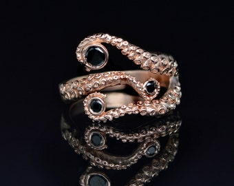 SALE! Tentacle Ring, Wedding Band, Octopus Ring - Seductive 14K Tentacle Ring in Rose Gold and Black Diamonds by OctopusME