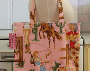 Book Bag Tote Purse - Pin Up Cowgirl on Pink
