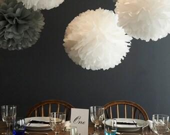 3 Large Tissue PAPER POM POMS set - wedding decorations birthday party supplies pompom