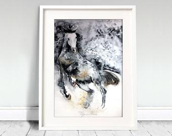 Running horse. Wild horse. Horse watercolor art print. Wall art, wall decor, digital print.