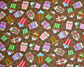 STORE CLOSING SALE - Moda Fabric, Cherry On Top, Chocolate Brown, Keiki, 100% Cotton Quilt Fabric, Cupcake, Quilting Fabric