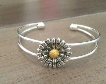 Daisy Cuff Bracelet Silver
