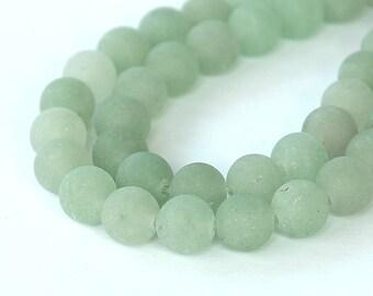 Matte Green Aventurine Beads, 8mm Round - 15 inch Strand - eGR-AV003-8