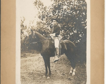 Antique WWI Cabinet Photograph of a Solider on His Horse
