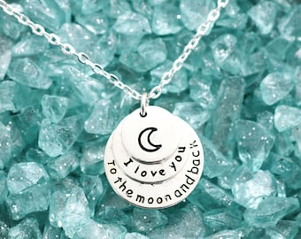 I Love You To The Moon And Back Necklace - Gift For Her - Moon Necklace - Moon and Back