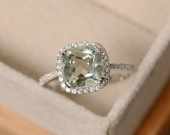Green amethyst ring, cushion cut, sterling silver