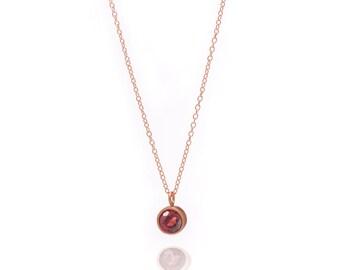 Gemstone POP Necklace - Rose Gold Necklace - Garnet Necklace - Small Gemstone Pendant Necklace - 18k Rose Gold Vermeil