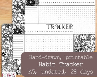 Printable Habit Tracker, 28 Days, Hand-Drawn Template, Perpetual Calendar, Daily Planner Sticker, A5 Planner Insert, Undated, Floral