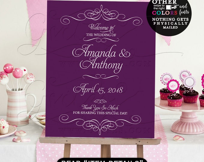 Welcome Wedding Sign, Welcome to our wedding Signs, to our wedding, Printable Poster Banner, table backdrops banner signs, Custom Signs.