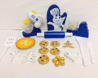 Vintage Toy Kitchen, Pillsbury Playset, Pretend Play, Play Bakery, Pretend Pie and Cookies, Play Food, 1990s Vintage Toys, Pillsbury 1998