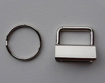 """Key Fob Hardware 25mm (1"""") x 10 Nickel finish"""