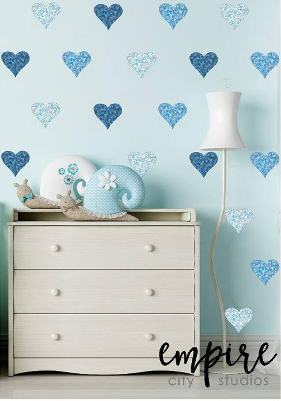 Mini Mosaic Tile Hearts Wall Decal-Stained Tiles Mini Heart Vinyl Decals-Blue Mini Heart decals-Mulitple Blues decals-Girls Wall Decor