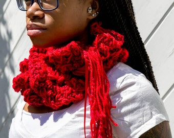 RedFluffy Ruffled Scarf Chunky Lacy Boa Long Scarf